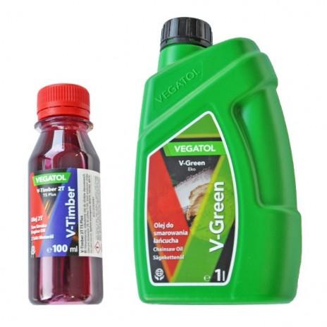 Olej do smarowania łańcucha 1 L + olej do paliwa 2T czerwony 0,1 L  VEGATOL